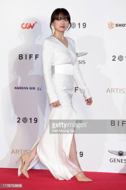 South Korean actress Chun Woo-Hee arrives at the opening ceremony of the 24th Busan International Film Festival on October 03, 2019 in Busan, South...