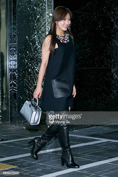 South Korean actress Ha JiWon attends the photocall for FENDI Seoul PEEKABOO Project Exhibition at BoonTheShop on November 4 2015 in Seoul South Korea