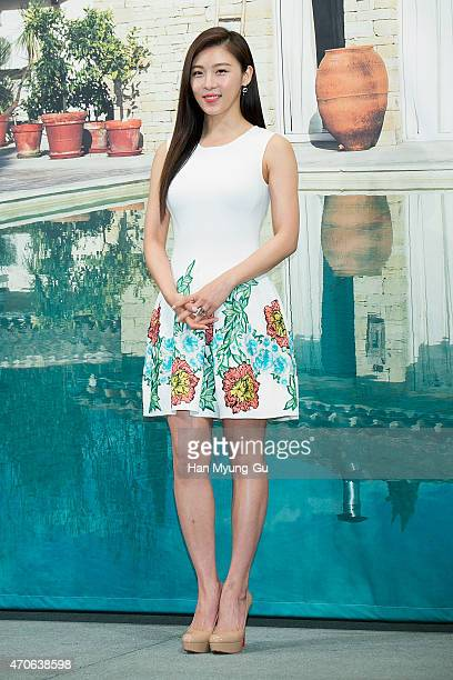 South Korean actress Ha JiWon attends the press conference for OnStyle 'Go Go With Sister' at Imperial Palace Hotel on April 22 2015 in Seoul South...
