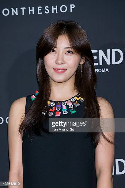 South Korean actress Ha JiWon hair detail attends the photocall for FENDI Seoul PEEKABOO Project Exhibition at BoonTheShop on November 4 2015 in...