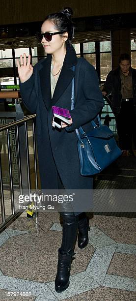 South Korean actress Han GaIn is seen at Gimpo International Airport on December 7 2012 in Seoul South Korea