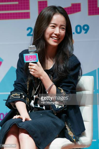 South Korean actress Han JiMin attends Plan Man press conference at Lotte Cinema on December 9 2013 in Seoul South Korea The film will open on...