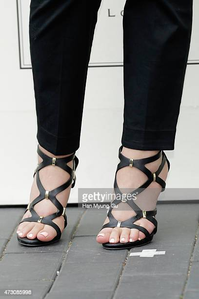 South Korean actress Hwang JungEum shoe detail attends the photocall for Jo Malone London Hannam boutique opening party on May 12 2015 in Seoul South...
