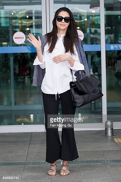 South Korean actress Jeon JiHyun known as Gianna Jun is seen on departure at Incheon International Airport on July 7 2016 in Incheon South Korea