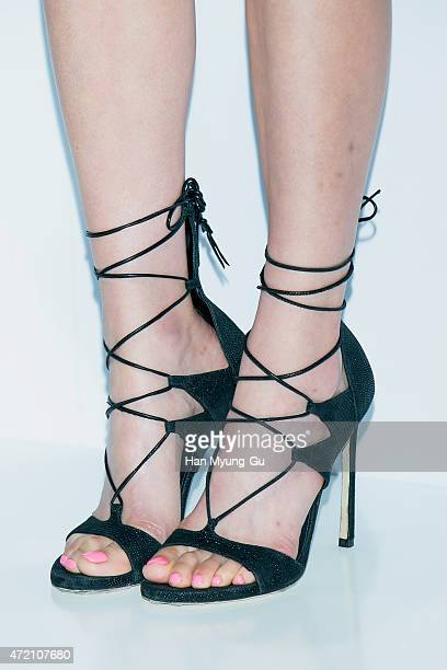 South Korean actress Jeon JiHyun shoe detail attends the autograph session for 'Didier Dubot' at Lotte Department Store on May 4 2015 in Seoul South...