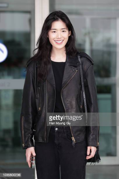 South Korean actress Jung Eun-Chae is seen on departure at Incheon International Airport on September 19, 2018 in Incheon, South Korea.