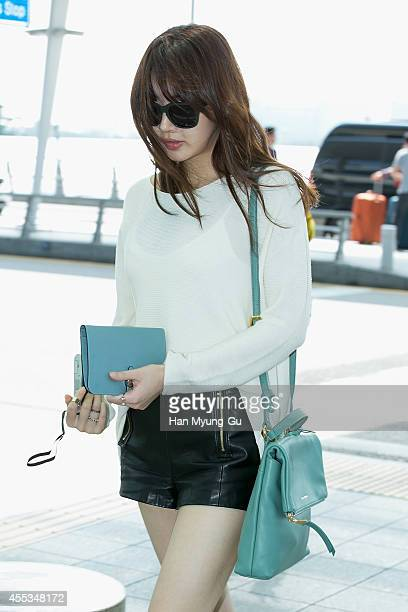 South Korean actress Kang SoRa is seen on departure at Incheon International Airport on September 13 2014 in Incheon South Korea