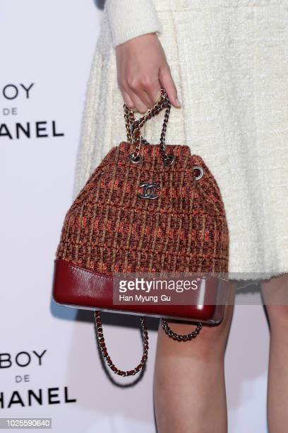 South Korean actress Kim DaMi bag detail attends the CHANEL Boy De Chanel Launch Party on August 30 2018 in Seoul South Korea