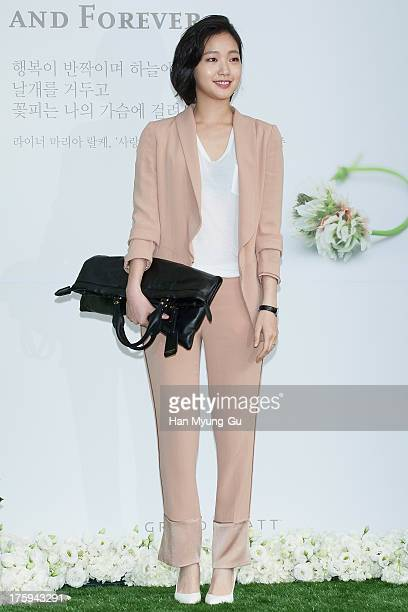 South Korean actress Kim GoEun arrives for wedding ceremony of Lee ByungHun and Rhee MinJung at the Hyatt Hotel on August 10 2013 in Seoul South Korea