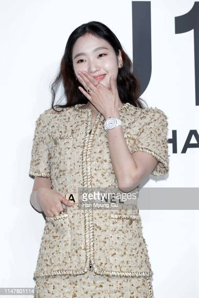 """South Korean actress Kim GoEun watch detail attends the photocall for CHANEL """"The New J12"""" launch event on May 08 2019 in Seoul South Korea"""
