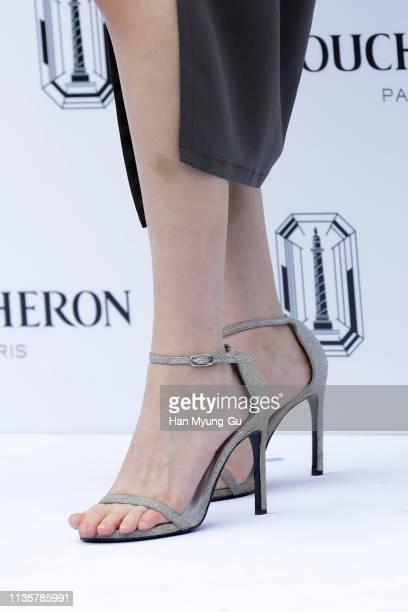 South Korean actress Kim HaNeul shoe detail attends the photo call for BOUCHERON 'Les Salons Boucheron' on March 14 2019 in Seoul South Korea