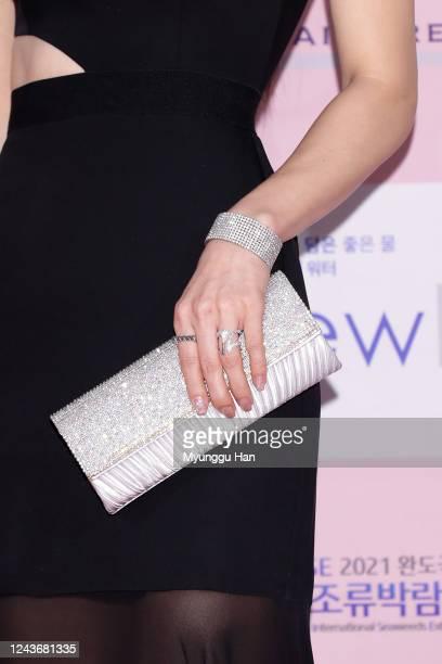 South Korean actress Kim HyeJin aka Kim HaeJin bag detail attends the 56th Daejong Film Awards at Grand Walkerhill hotel on June 03 2020 in Seoul...