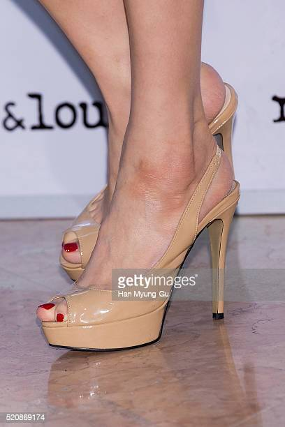 South Korean actress Kim HyoJin shoe detail attends the photocall for 'Rouge and Lounge' at Lotte Department Store on April 12 2016 in Seoul South...