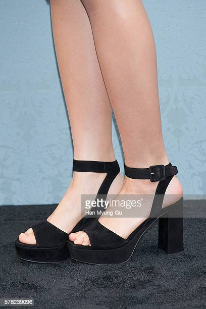South Korean actress Kim SoHyun shoe detail attends the opening event for the Miu Miu Cheongdam Boutique on July 20 2016 in Seoul South Korea