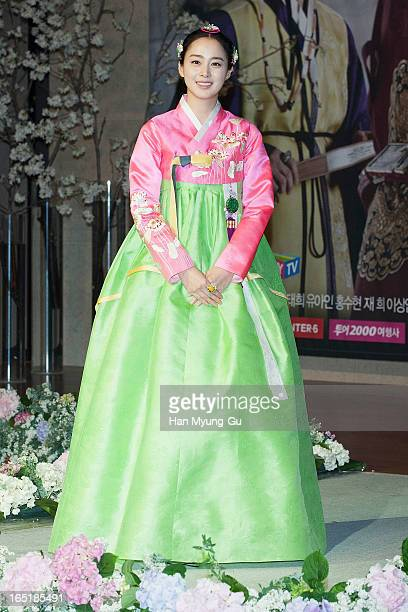South Korean actress Kim TaeHee attends during the SBS Drama 'Jang OkJung' Press Conference at the MVL hotel on April 1 2013 in Ilsan South Korea The...