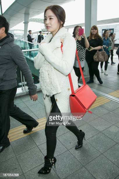South Korean actress Kim TaeHee is seen on departure at Incheon International Airport on November 6 2013 in Incheon South Korea