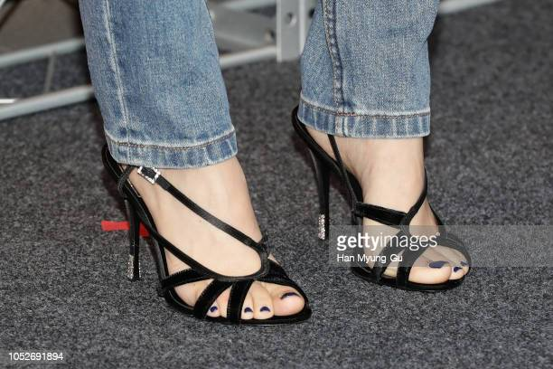 South Korean actress Kim TaeRi shoe detail attends the 'A Twosome Place' Photocall on October 21 2018 in Seoul South Korea
