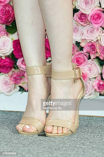South Korean actress Kim YuRi shoe detail attends photocall for the FRESH Real 3000 Rose Flowers Festival at Lotte Department Store on June 5 2015 in...