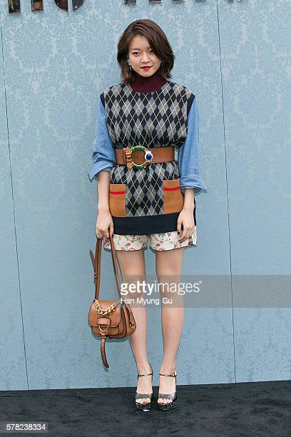 South Korean actress Ko AhSung aka Ko ASung attends the opening event for the Miu Miu Cheongdam Boutique on July 20 2016 in Seoul South Korea