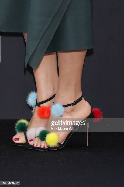 South Korean actress Ko SoYoung aka Go SoYoung shoe detail attends the photo call for 'FENDI' Boutique at Galleria Department Store on June 9 2017 in...