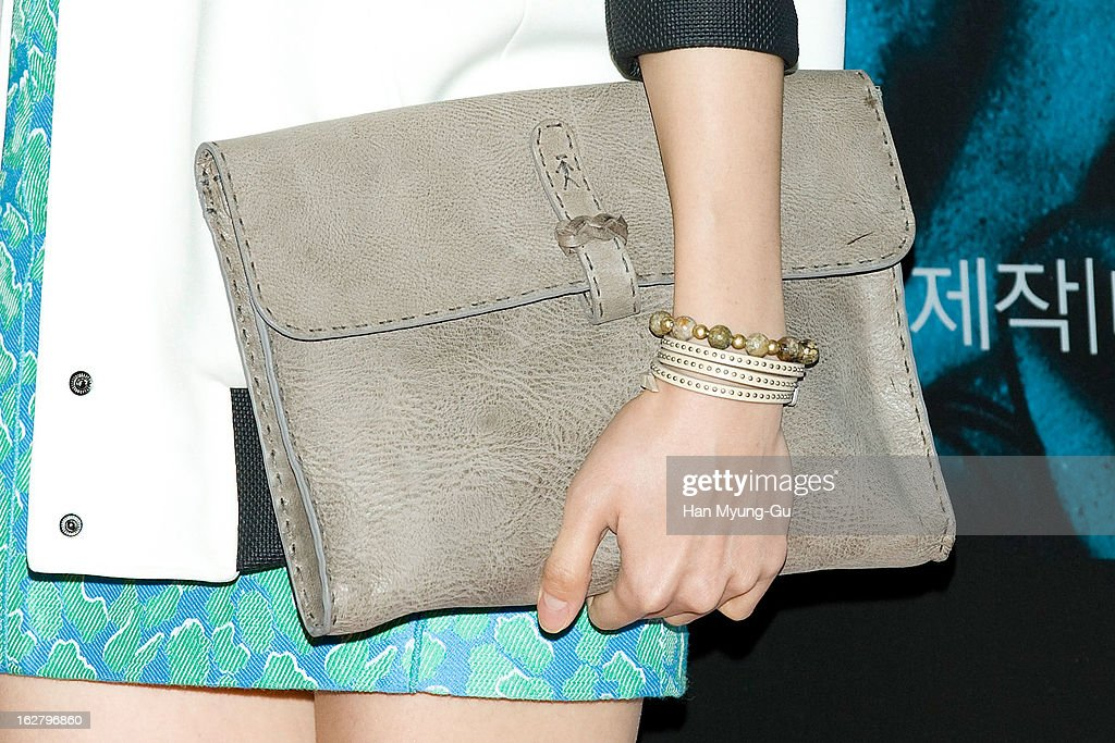 South Korean actress Lee Chung-Ah (bag detail) attends the 'Psychometry' VIP Screening at CGV on February 26, 2013 in Seoul, South Korea. The film will open on March 07 in South Korea.