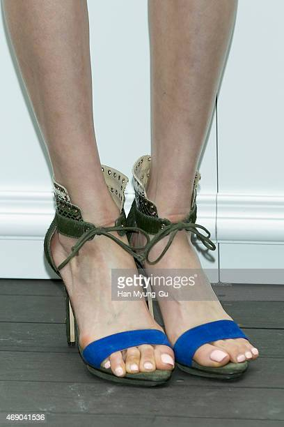 South Korean actress Lee DaHee shoe detail attends the VINCE 2015FW Presentation Photocall at RAUM on April 9 2015 in Seoul South Korea