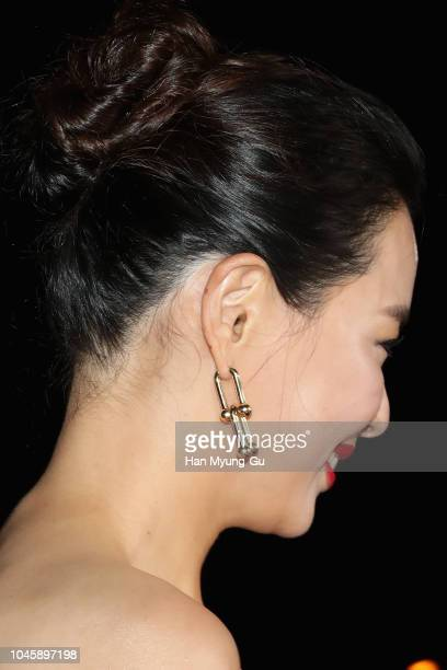South Korean actress Lee HaNee earring deatil attends the Opening Ceremony of the 23nd Busan International Film Festival on October 4 2018 in Busan...