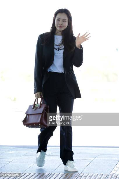 South Korean actress Lee Ha-Nee is seen on departure at Incheon International Airport on September 18, 2019 in Incheon, South Korea.