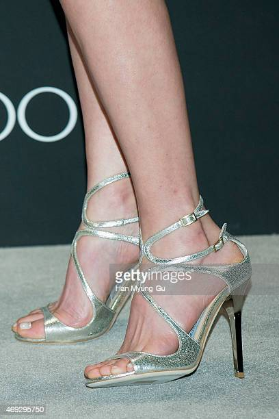 4b6f03cba14 South Korean actress Lee MiYun shoe detail attends the  Jimmy Choo  Moments  In Style. ED. Editorial use only. South Korean model Kang SeungHyon ...
