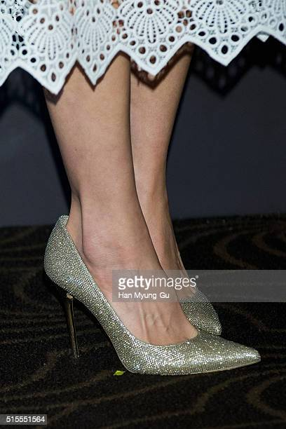 South Korean actress Lee SiYoung shoe detail attends the photocall for SKII #ChangeDestiny Forum at The Shilla Hotel on March 14 2016 in Seoul South...