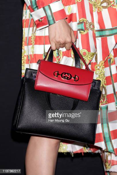 South Korean actress Lee TaeRan bag detail attends the Photocall for Gucci 'Zumi' launch on March 21 2019 in Seoul South Korea