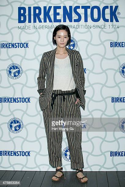 South Korean actress Lee YoungJin attends the photocall for 'Birkenstock' at LF Fashion on May 28 2015 in Seoul South Korea