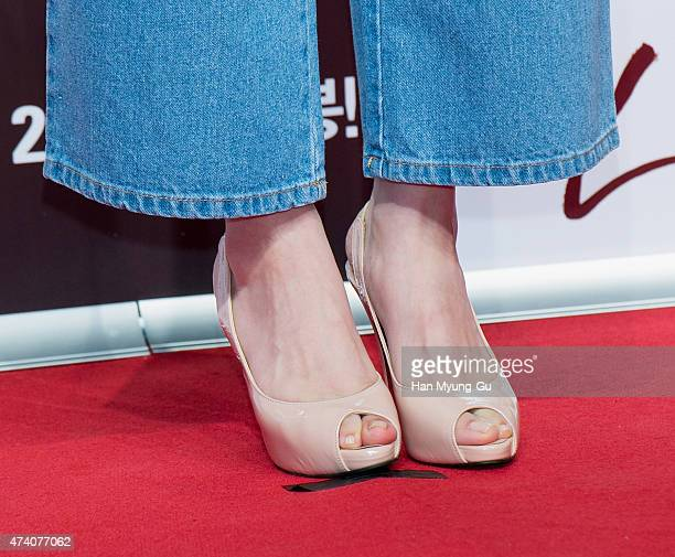 South Korean actress Lim SooJung shoe detail attends The Treacherous VIP screening at Lotte Cinema on May 18 2015 in Seoul South Korea The film will...