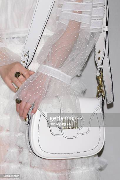 South Korean actress Min Hyo-Rin, bag detail, attends the photocall for Dior 2017 S/S Collection at Shinsegae Department Store on February 24, 2017...