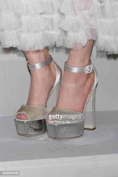South Korean actress Min Hyo-Rin, shoe detail, attends the photocall for Dior 2017 S/S Collection at Shinsegae Department Store on February 24, 2017...