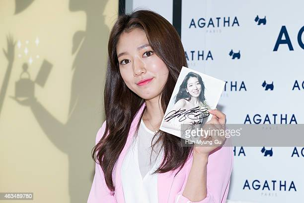 South Korean actress Park ShinHye attends the autograph session for Agatha Paris at Shinsegae Department Store on February 14 2015 in Seoul South...