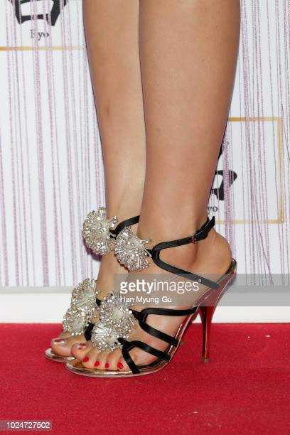 South Korean actress Park ShinHye shoe detail attends the photocall for AMORE PACIFIC Ryo 10th Anniversary' on August 27 2018 in Seoul South Korea
