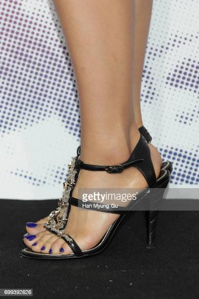 South Korean actress Park ShinHye shoe detail attends the Mademoiselle Prive exhibition at the DMuseum on June 21 2017 in Seoul South Korea