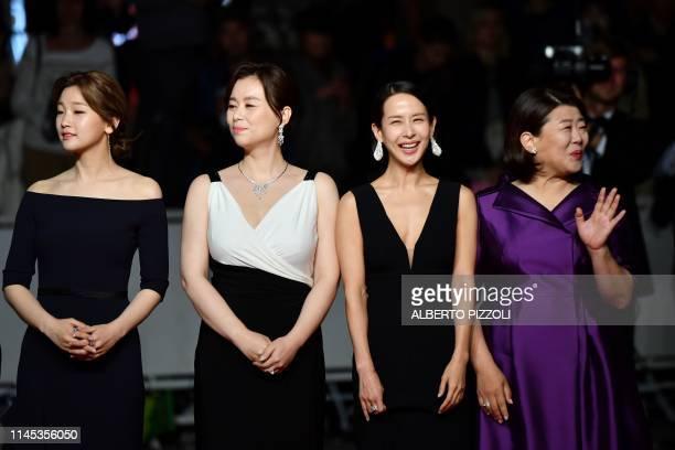 South Korean actress Park Sodam South korean actress Chang Hyaejin South Korean actress Cho Yeojeong and South Korean actress Lee JungEun arrive for...