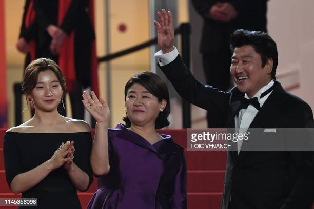 South Korean actress Park Sodam South Korean actress Lee JungEun and South Korean actor Kangho Song arrive for the screening of the film Parasite at...