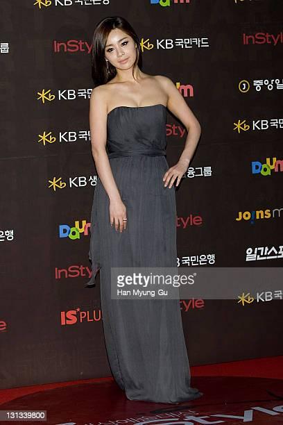 South Korean actress Seo Young-Hee arrives at the 47th PaekSang Art Awards at Grand Peace Palace on May 26, 2011 in Seoul, South Korea.