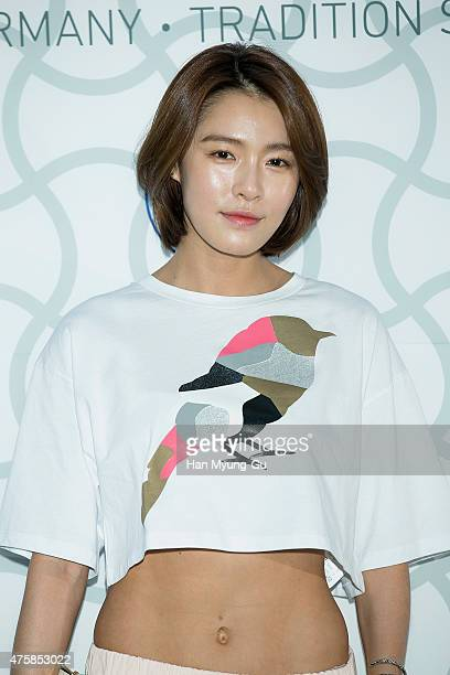 South Korean actress singer Gahee attends the photocall for 'Birkenstock' at LF Fashion on May 28 2015 in Seoul South Korea