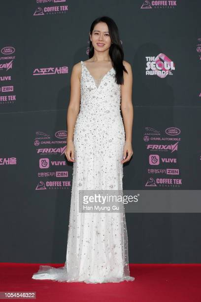 South Korean actress Son YeJin attends during 2018 The Seoul Awards at Kyunghee University on October 27 2018 in Seoul South Korea