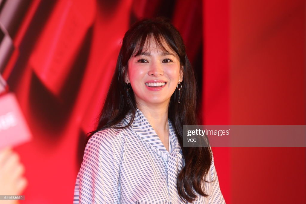 South Korean actress Song Hye Kyo attends a promotional event of cosmetics brand Laneige on February 23, 2017 in Taipei, Taiwan of China.