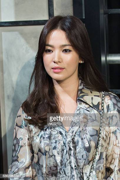 South Korean actress Song Hyekyo arrives at the red carpet of a press conference of Chanel's 'Paris in Rome 2015/16' Metiers d'Art Show on May 31...