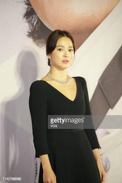 South Korean actress Song Hye-kyo poses on the red carpet of the 38th Hong Kong Film Awards Ceremony at the Hong Kong Cultural Centre on April 14,...