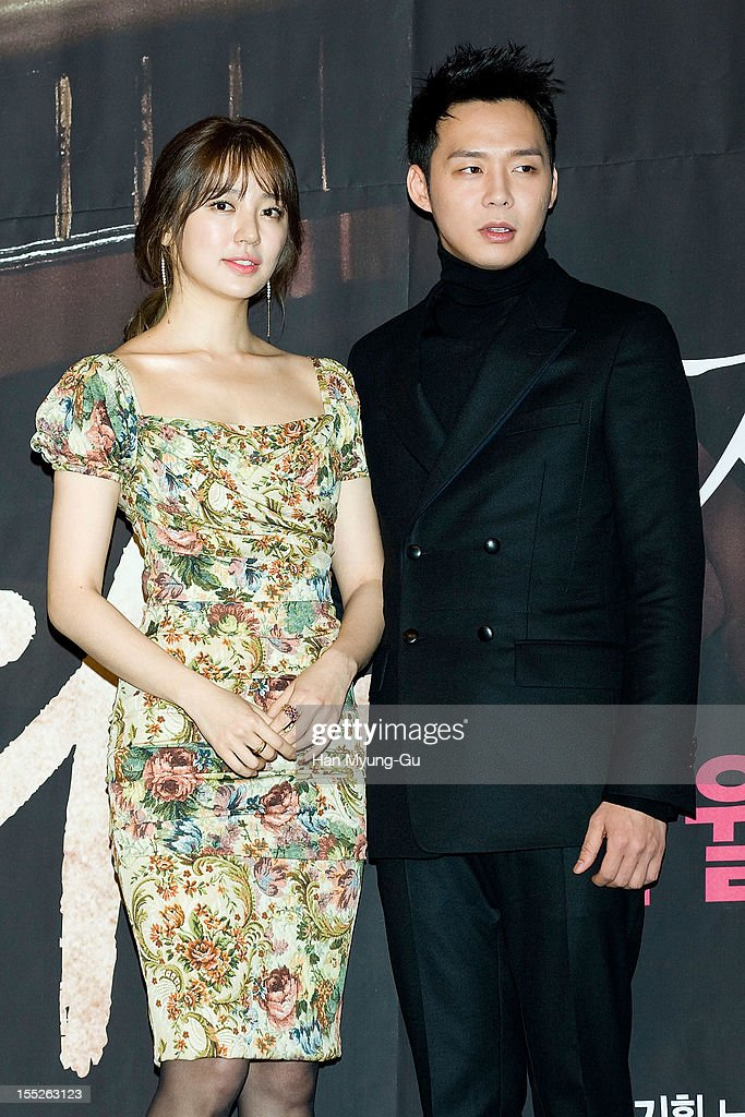 South Korean actress Yoon Eun-Hye and Park Yoo-Chun of boy band JYJ attend during a press conference to promote the MBC drama 'Miss You' on November 01, 2012 in Seoul, South Korea. The drama will open on November 07 in South Korea.