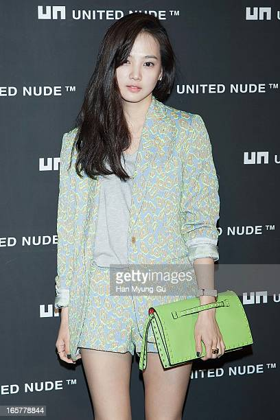 South Korean actress Yoon SeungA poses for media the 'United Nude' flagship store opening at United Nude Gangnam Store on April 5 2013 in Seoul South...