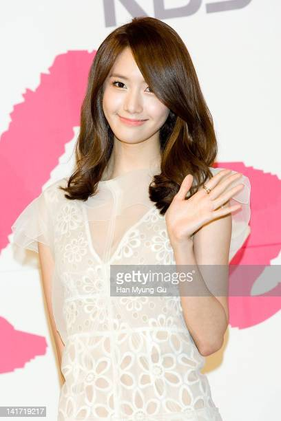 South Korean actress Yoona of K-Pop girl group Girls' Generation attends a press conference to promote KBS drama 'Love Rain' at Lotte Hotel on March...