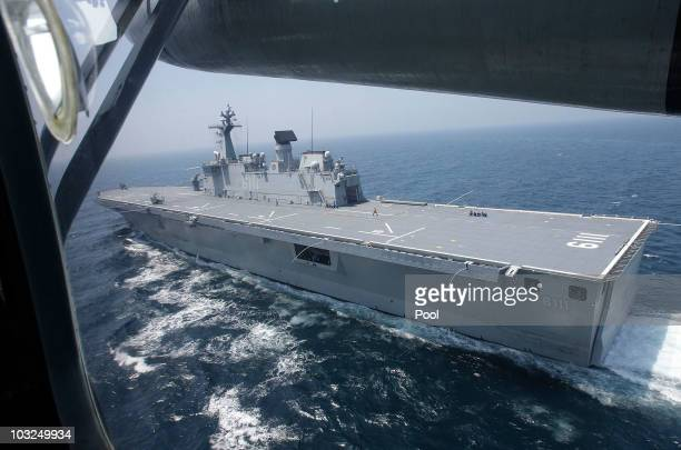 South Korean amphibious landing ship Dokdo takes part in a military drill in the West Sea on August 5 2010 in West Sea South Korea The South Korean...